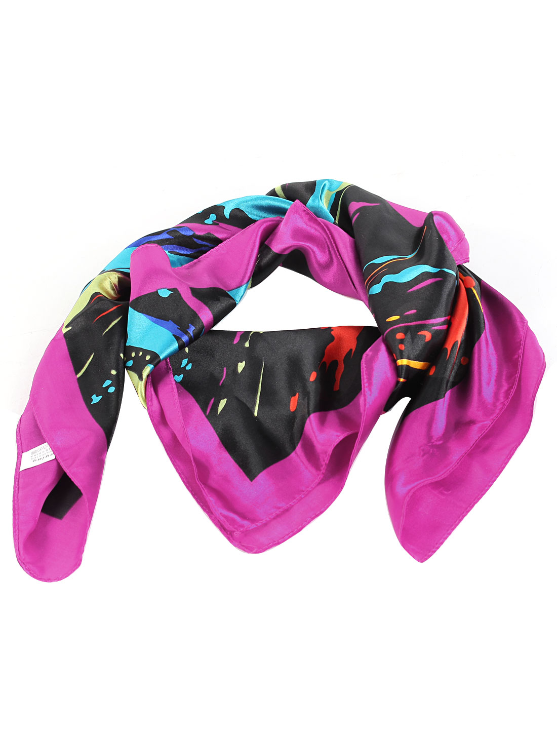 Women Square Shape Stripe Pattern Polyester Neck Scarf Kerchief Assorted Color