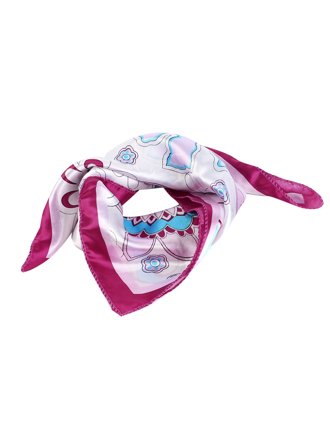 Women Square Shape Flower Pattern Polyester Neck Scarf Kerchief Assorted Color