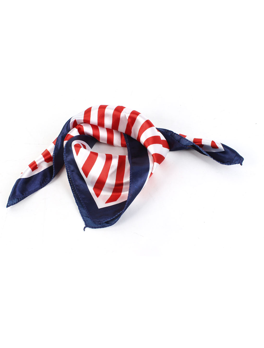 Women Square Shape Stripe Pattern Polyester Neck Scarf Kerchief Tricolor