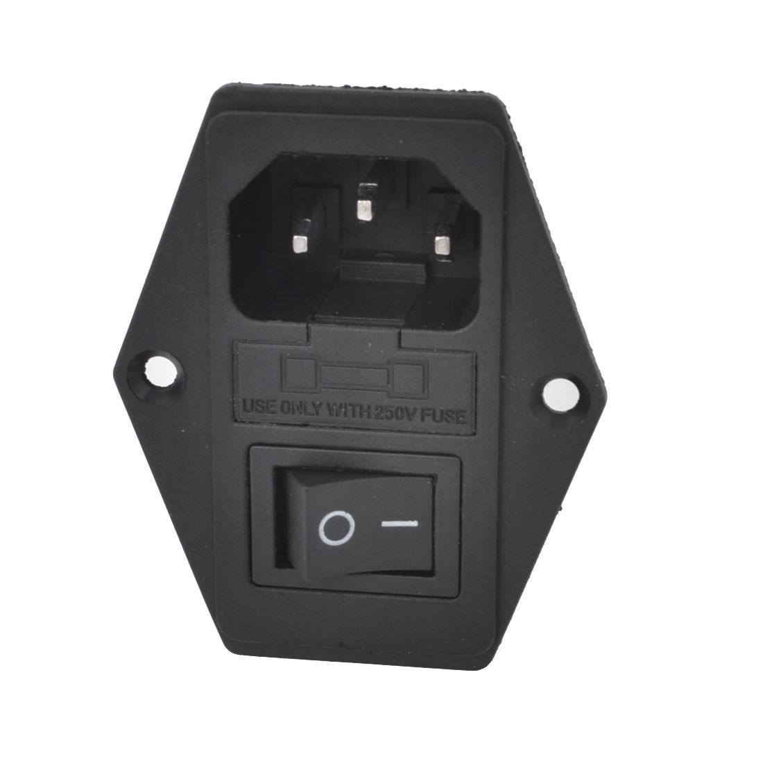 AC 250V 10A ON/OFF Rocker Switch Power Inlet Socket w Fuse Holder
