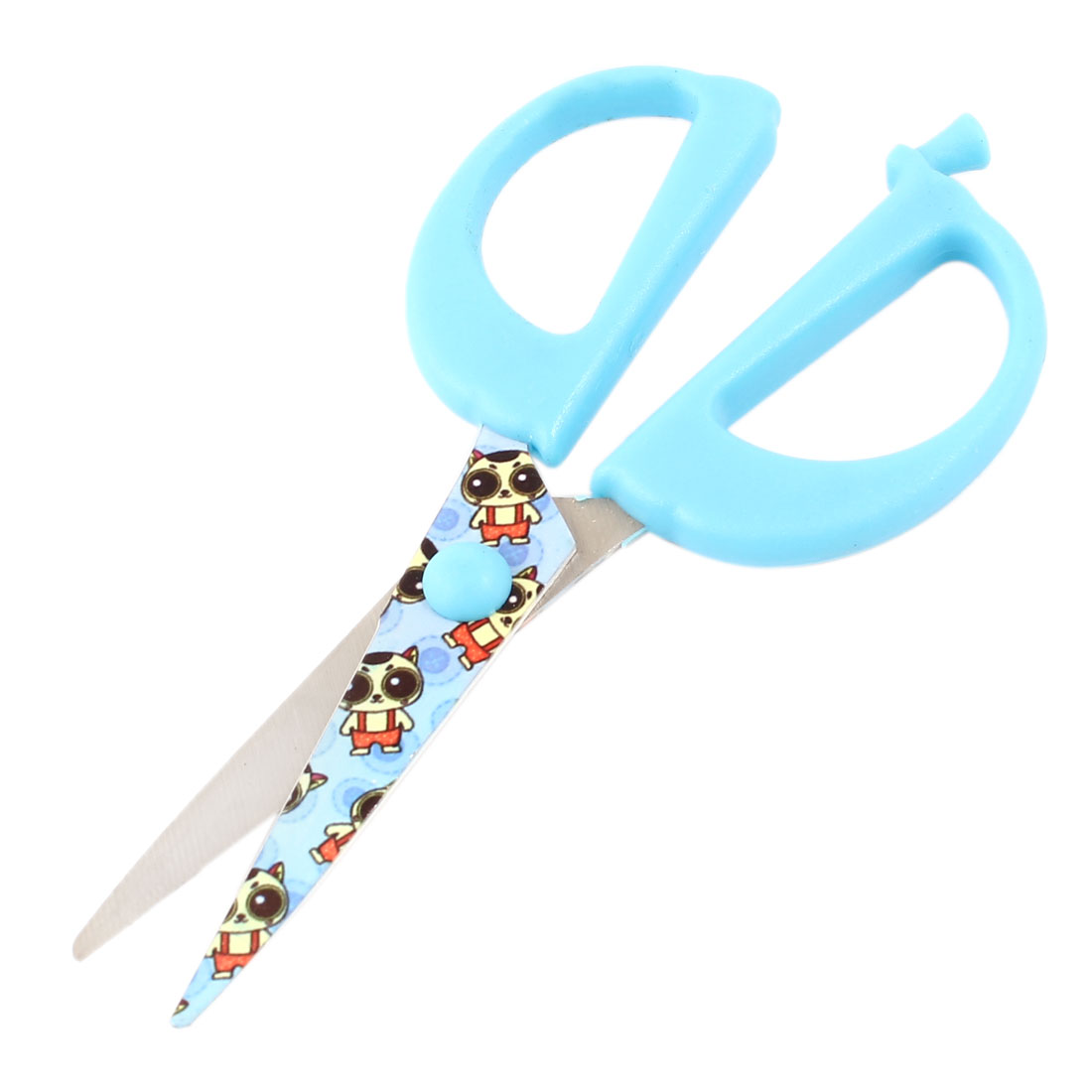 Blue Plastic Coated Metal Grip Straight Blade Scissors Shear Trimmer