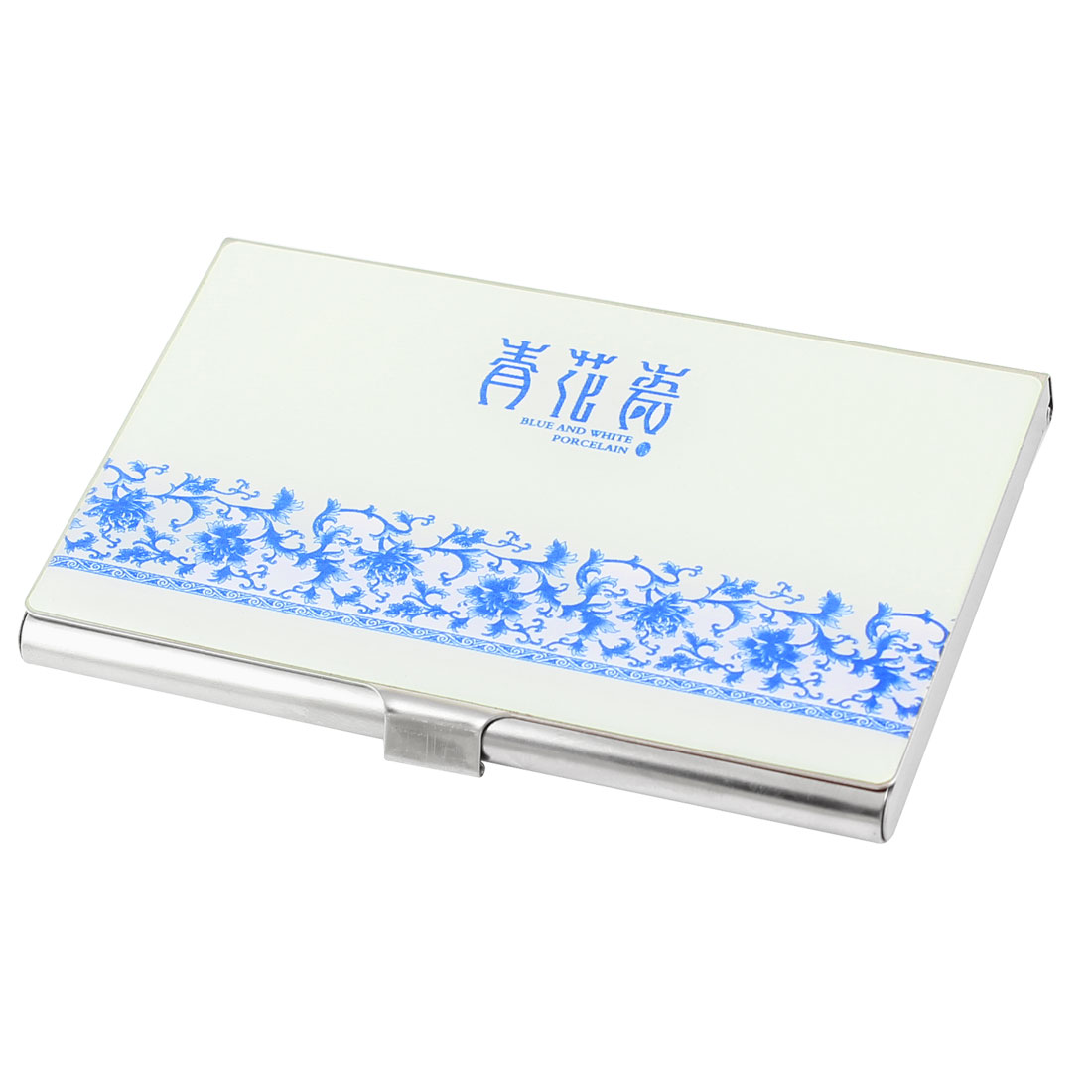 Porcelain Print Exterior Rectangle Business Card Box Container Holder Blue White