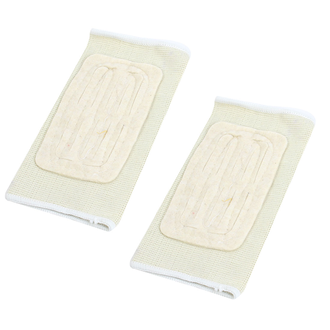 Pair Beige Sports Gym Elastic Elbow Forearm Support Protector Sleeve Brace for Athlete