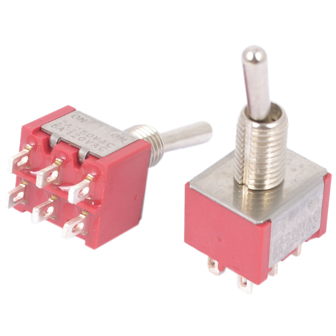 AC 2A 250V 5A 12V Rocker Type DPDT Latching 6 Terminals Toggle Switch 2pcs
