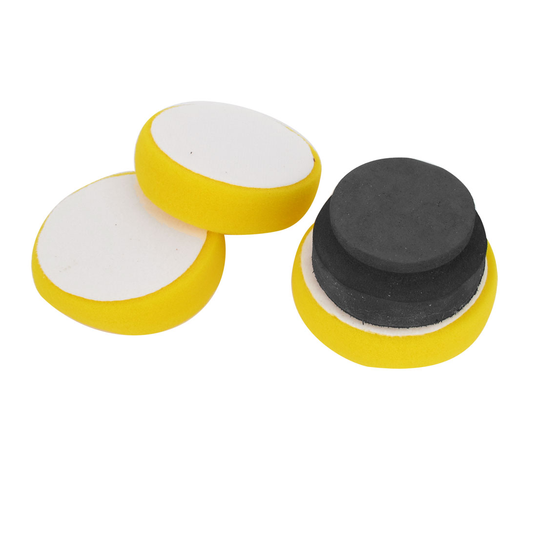 3 in 1 Yellow Black Car Cleaning Washer Round Waxing Sponge Pad w Polishing Wheel Ball Set