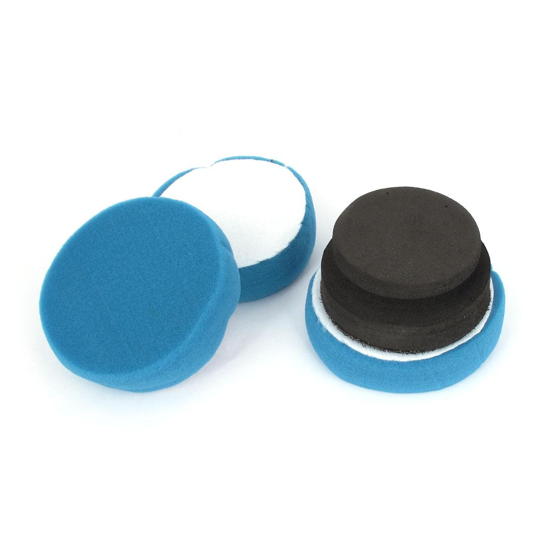 3 in 1 Blue Black Car Round Cleaning Washing Polishing Tool Sponge Pad Set