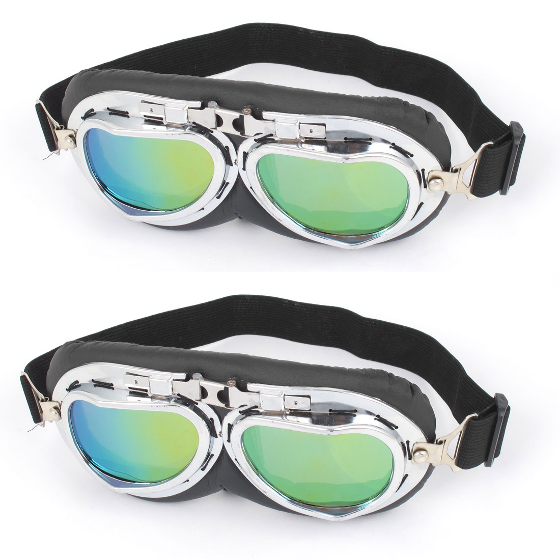 2 Pcs Motorcycle Bicycling Full Frame Adjustable Elastic Strap Green Lens Goggles Glasses Sunglasses