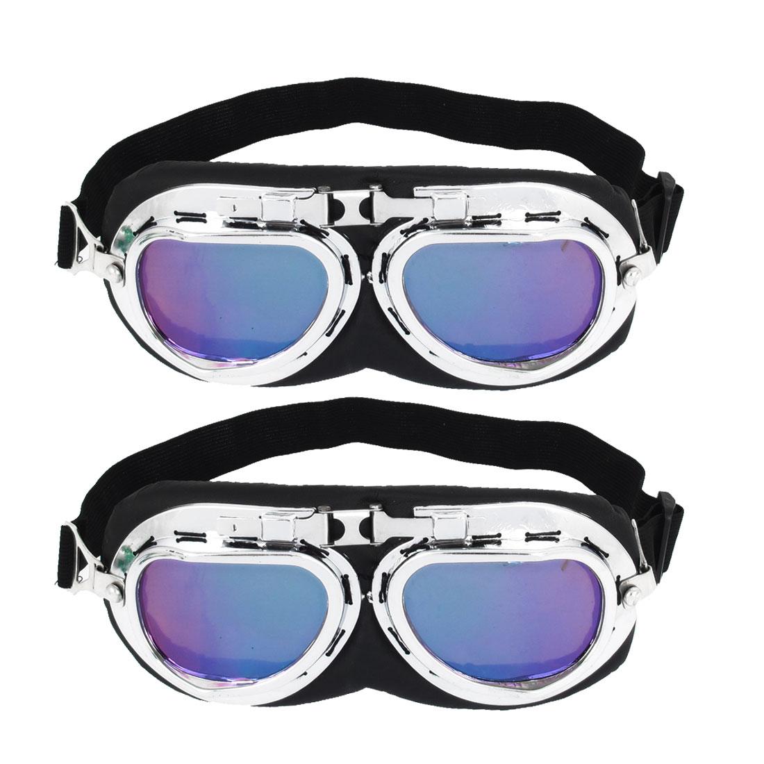 2 Pcs Adjustable Elastic Strap Purple Lens Full Frame Motorbike Goggles Sunglasses