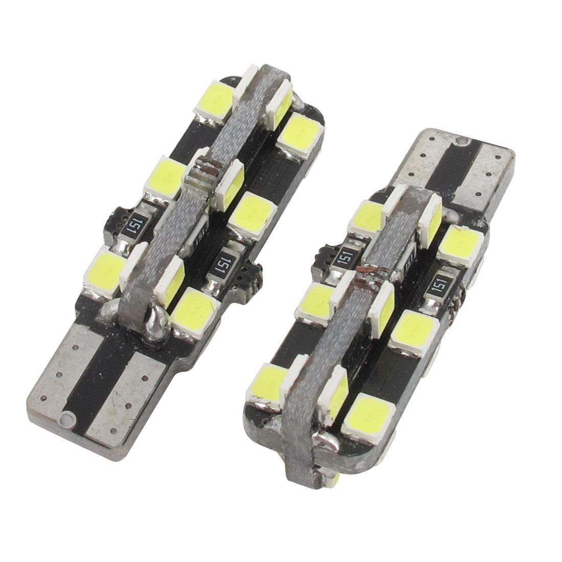 2 Pcs T10 White 24 LED 2538 SMD Tail Brake Light Bulbs for Car Vehicle Internal