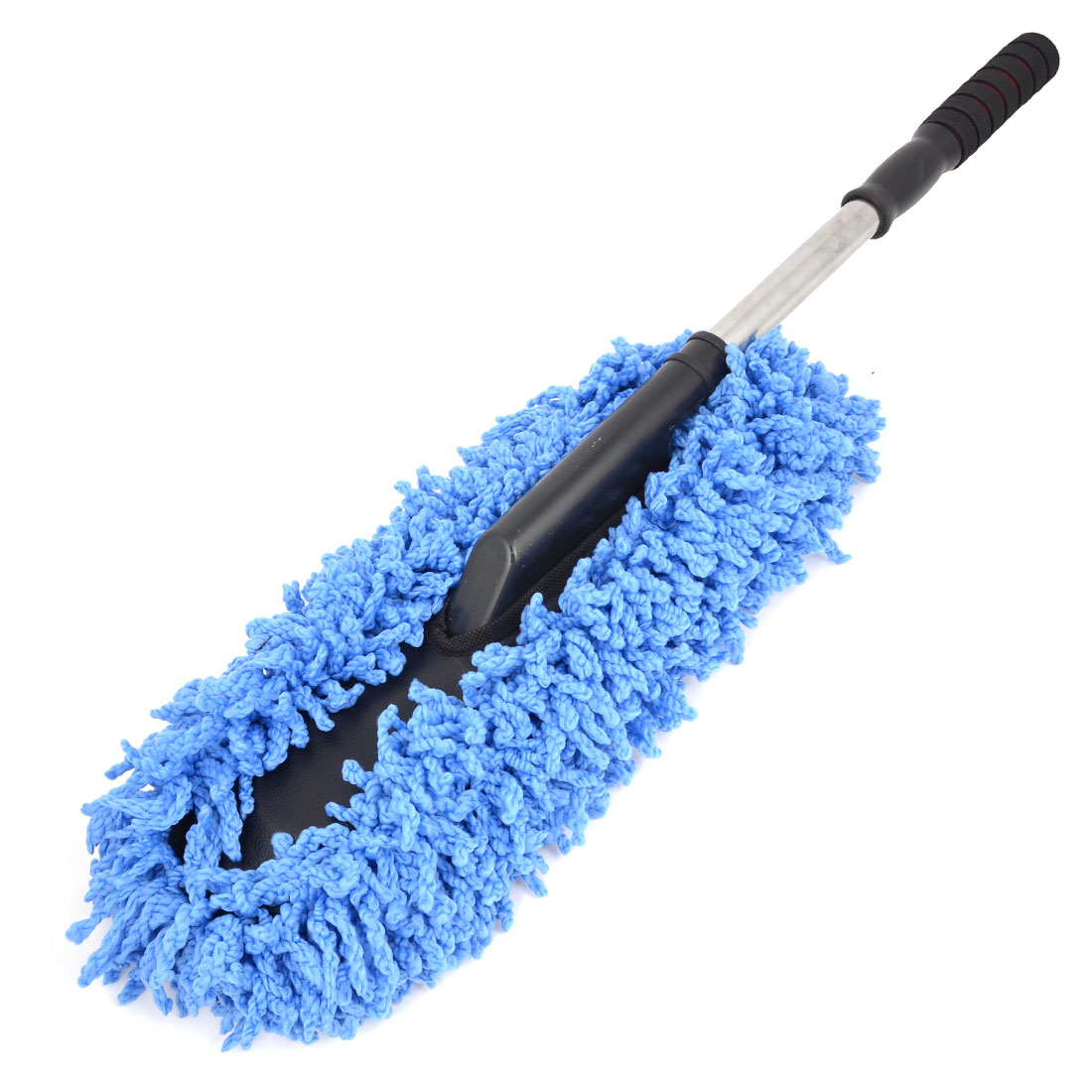 "28.3"" Long Blue Black Handle Soft Microfiber Car Clean Brush Dust Cleaning Tool"
