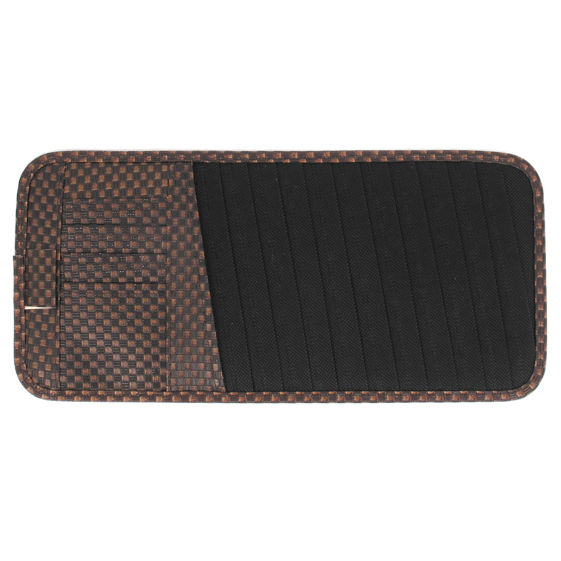 Brown Faux Leather Checks Prints Car Visor CD DVD Card Case Bag 12 Compartments Holder