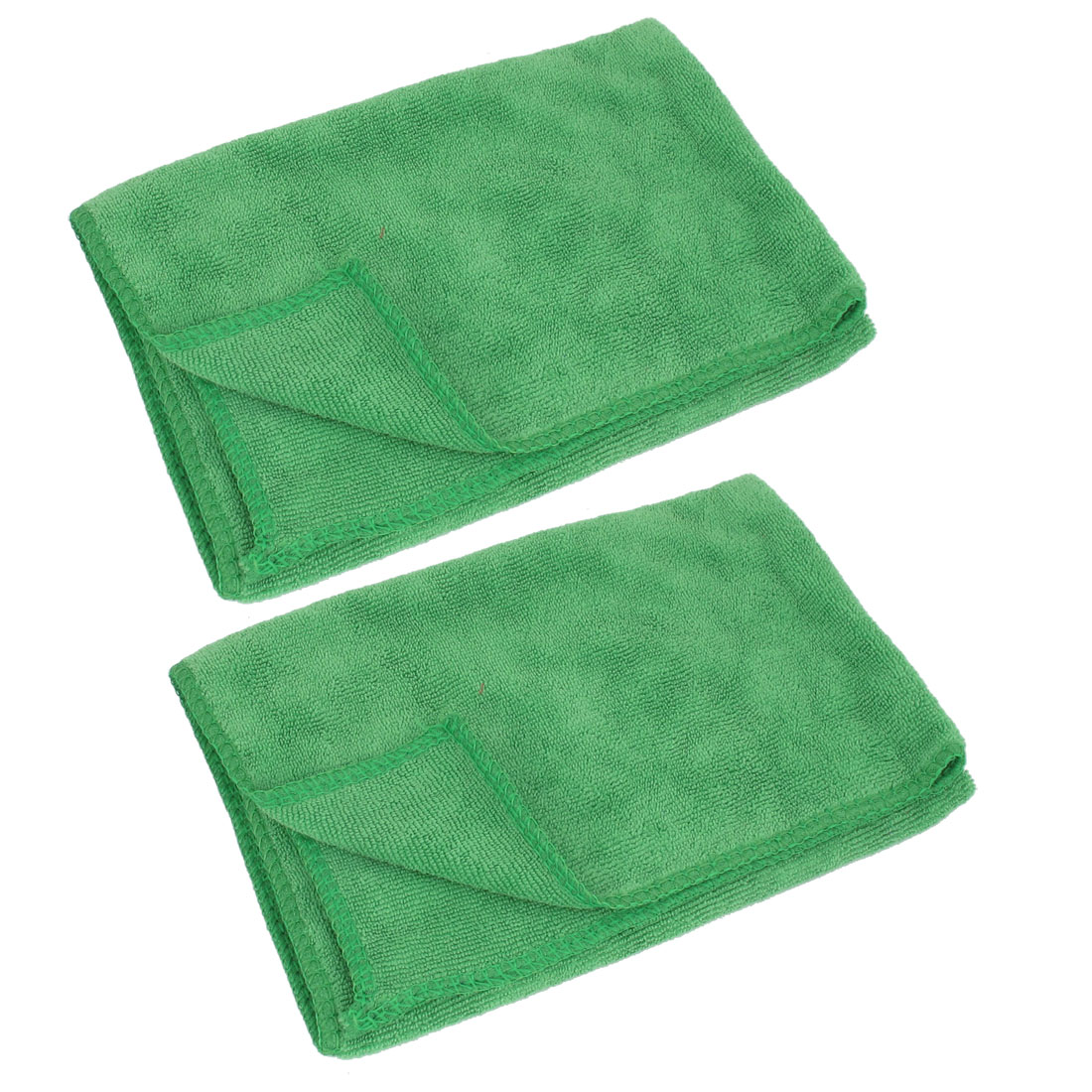 2 Pcs Green Car Microfiber Washing Cleaning Clean Towel 40cm x 40cm
