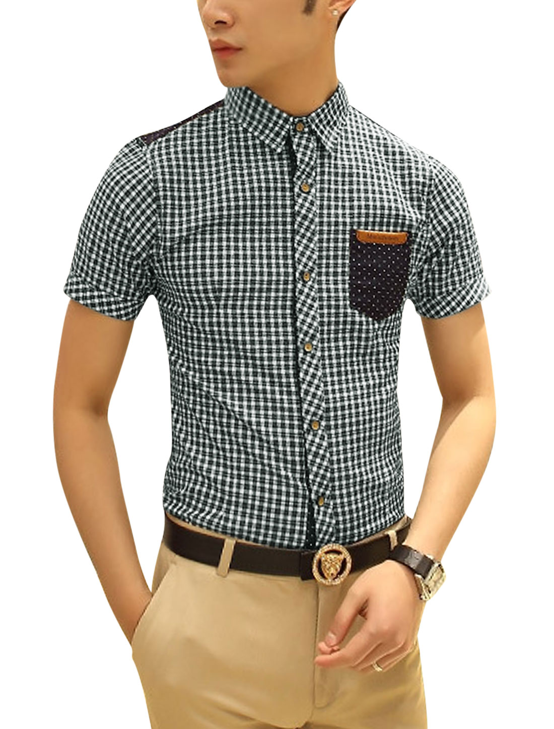 Men Slim Spliced Short Sleeve Checks Dots Pattern Shirt Green M