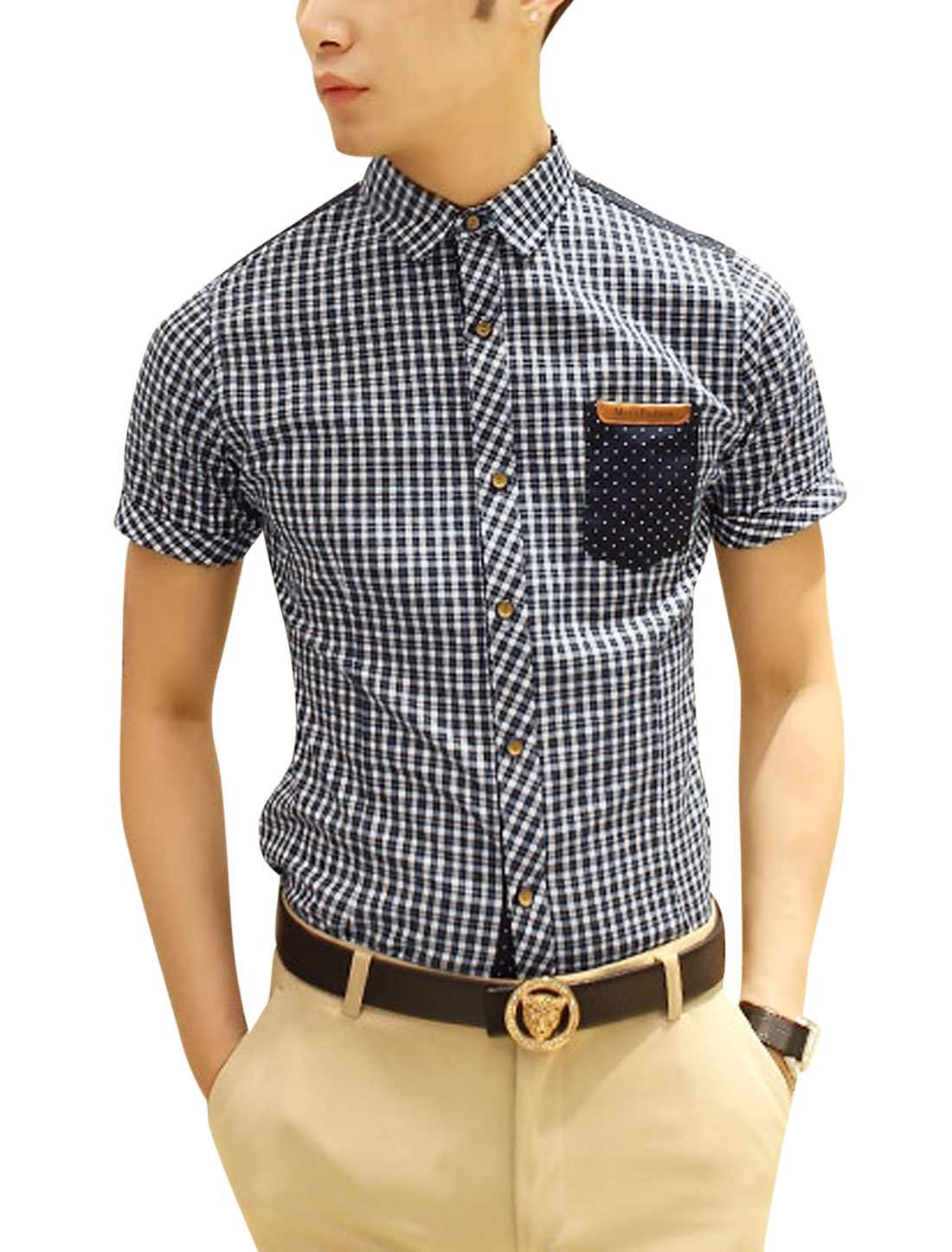 Men Short Sleeve One Chest Pocket Spliced Blue Plaids Dots Pattern Shirt M