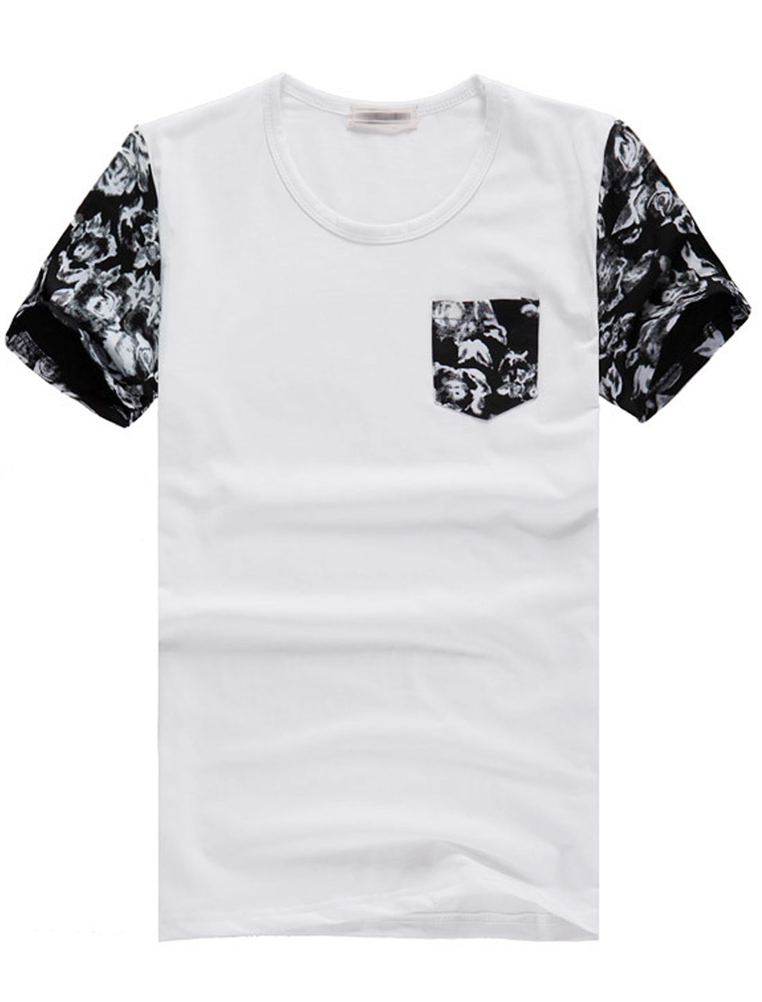 Men Short Sleeve Novelty Prints Splicing Design T-Shirt White S