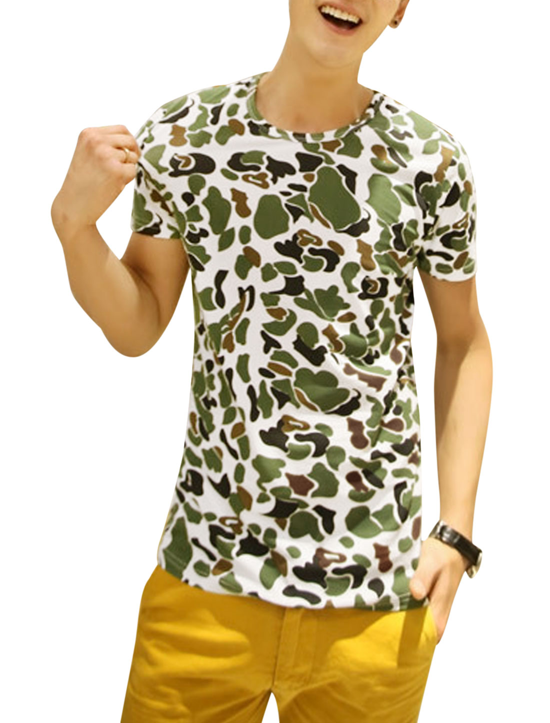 Man's Camouflage Pattern Short Sleeve Pullover T Shirt White S