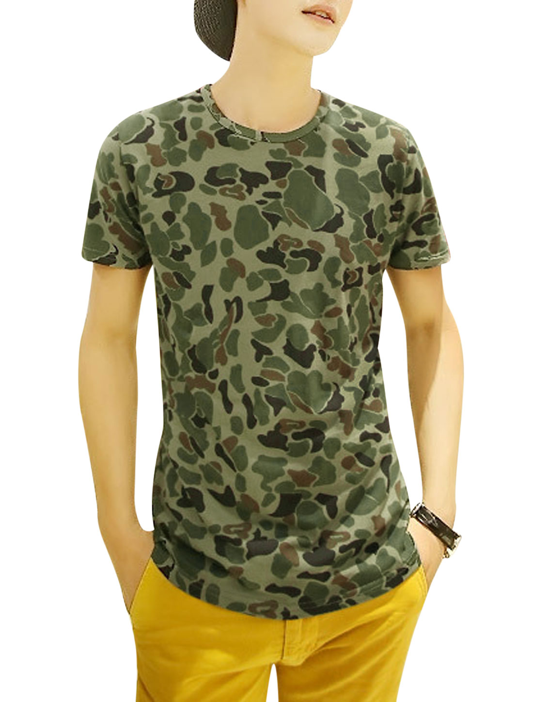 Man Camouflage Pattern Round Neck Pullover T-Shirt Army Green S