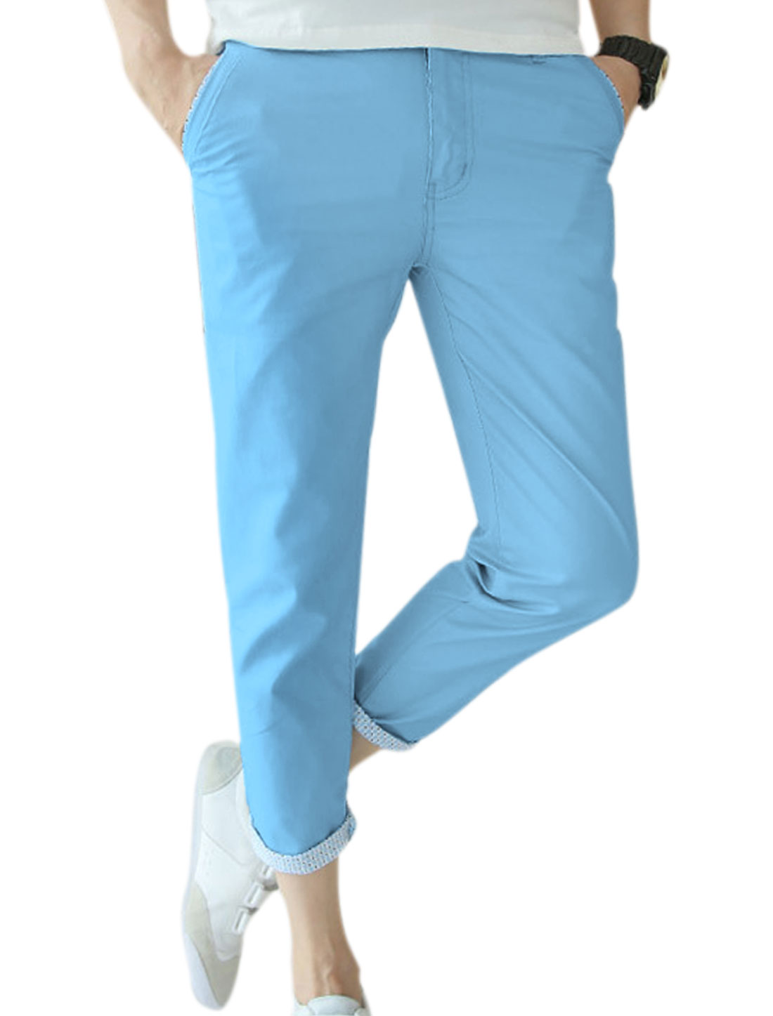 Men Summer Fit Botton closure Zip Fly Casual Slim Sky Blue Cropped Trousers W32
