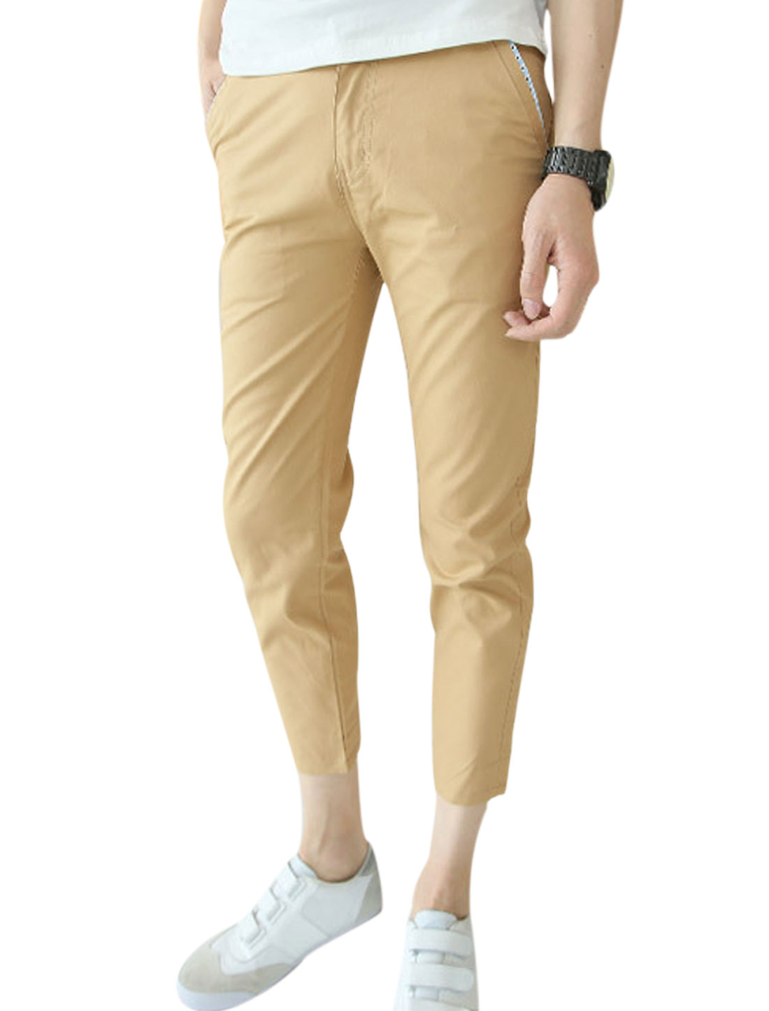 Men New Style Button Closuer Zip Fly Slim Casual Cropped Trousers Khaki W32