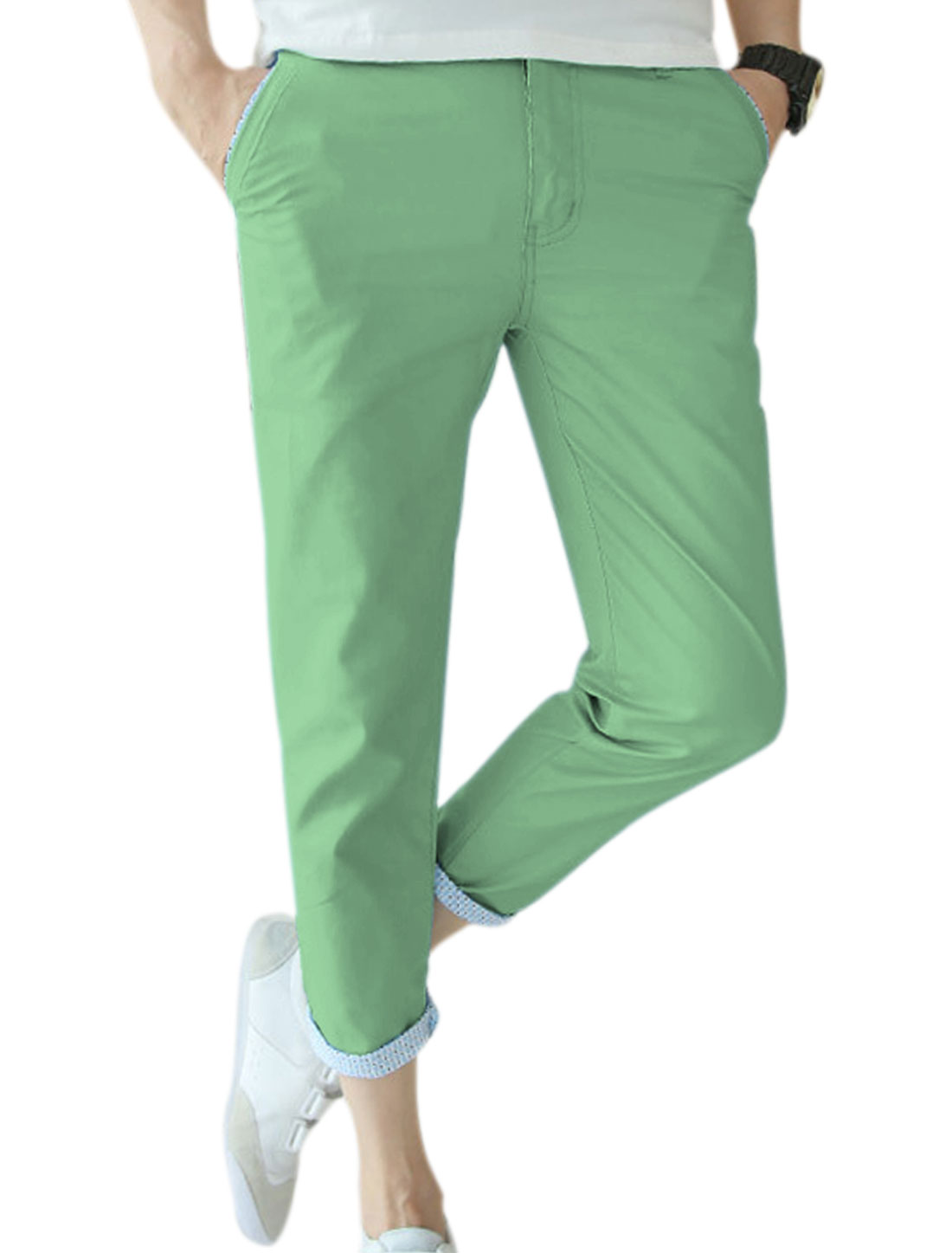 Men Zip Fly Button Closure Fashion Summer Wear Casual Cropped Pants Green W32