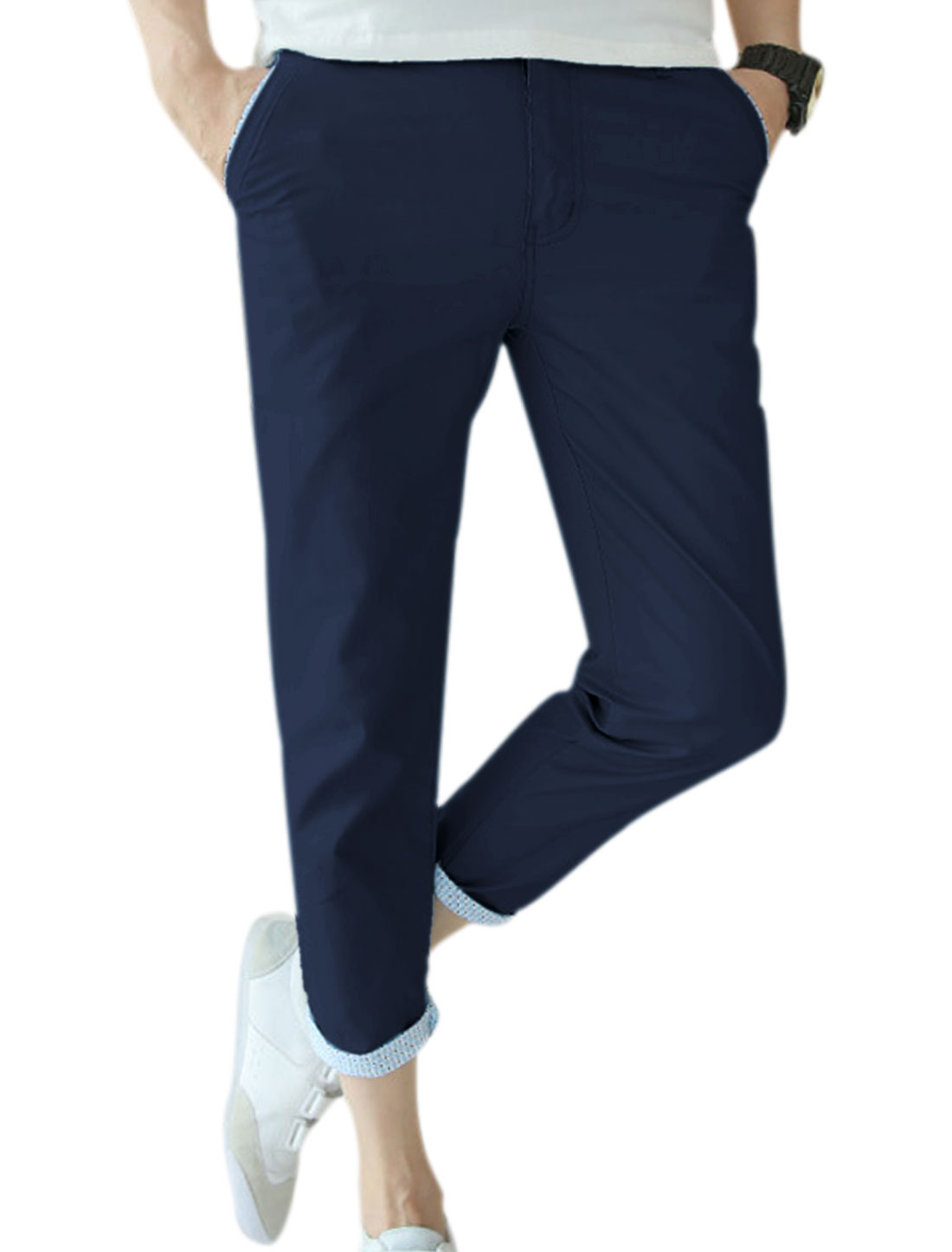 Men Belt Loop Slant Front Pockets Fitting Cropped Trousers Dark Blue W32