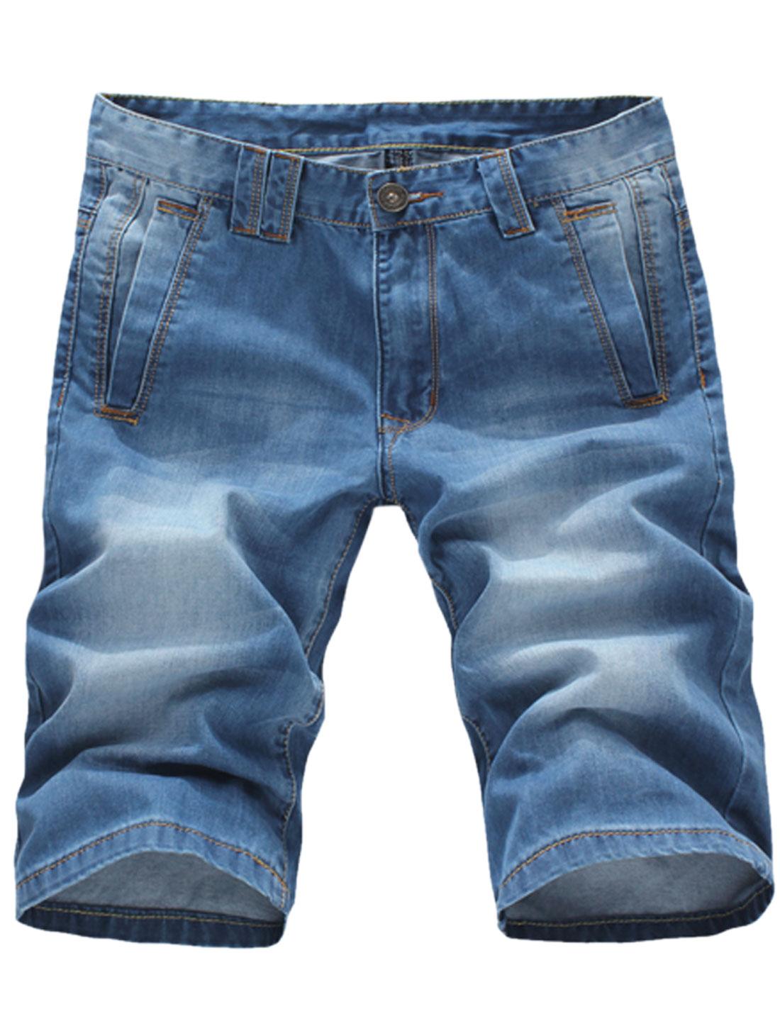 Men Single Button Closure Belt Loop Mid Rise Denim Shorts Dark Blue W32