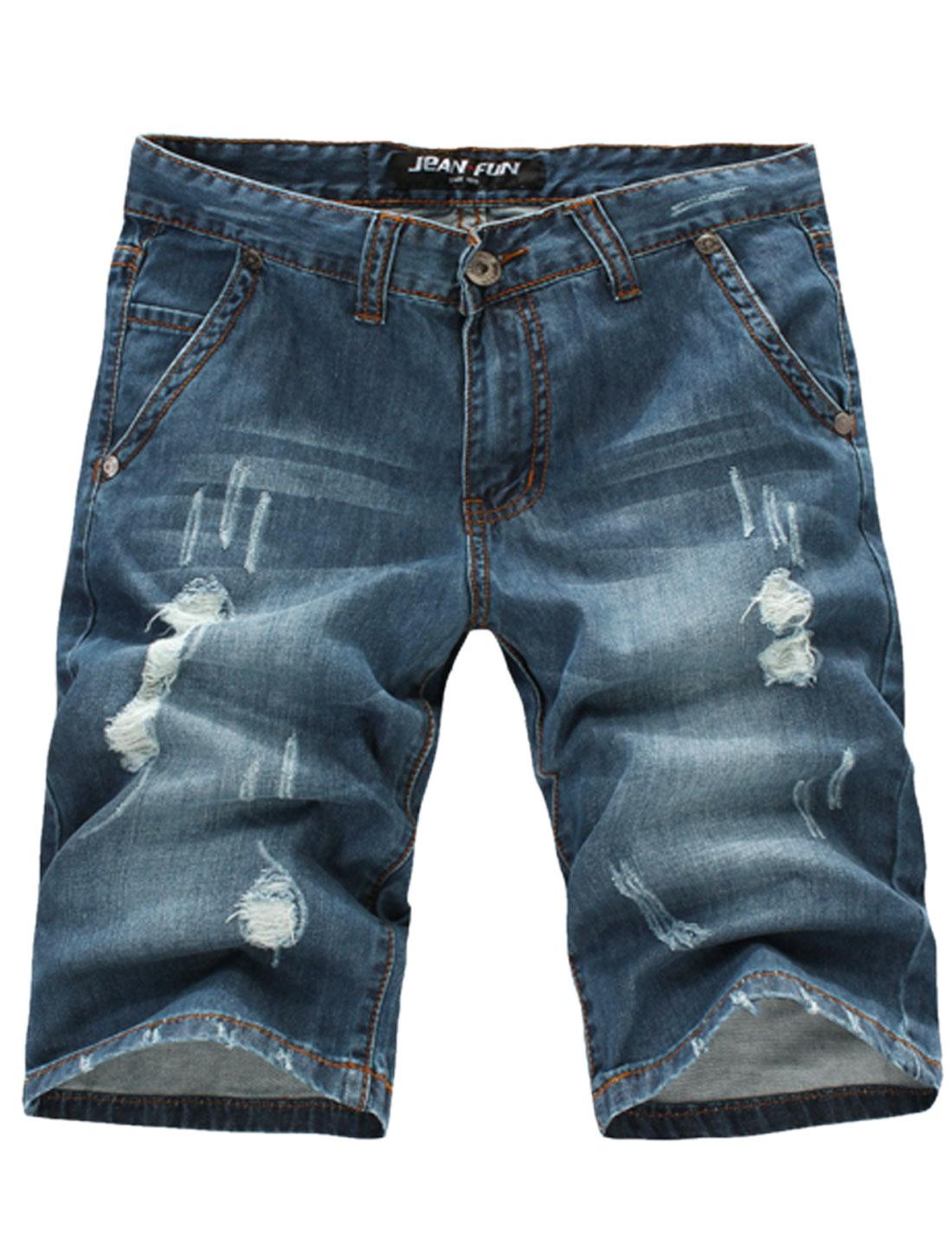 Men's Belt Loop Hip Pockets Zip Fly Destroyed Denim Shorts Dark Blue W34