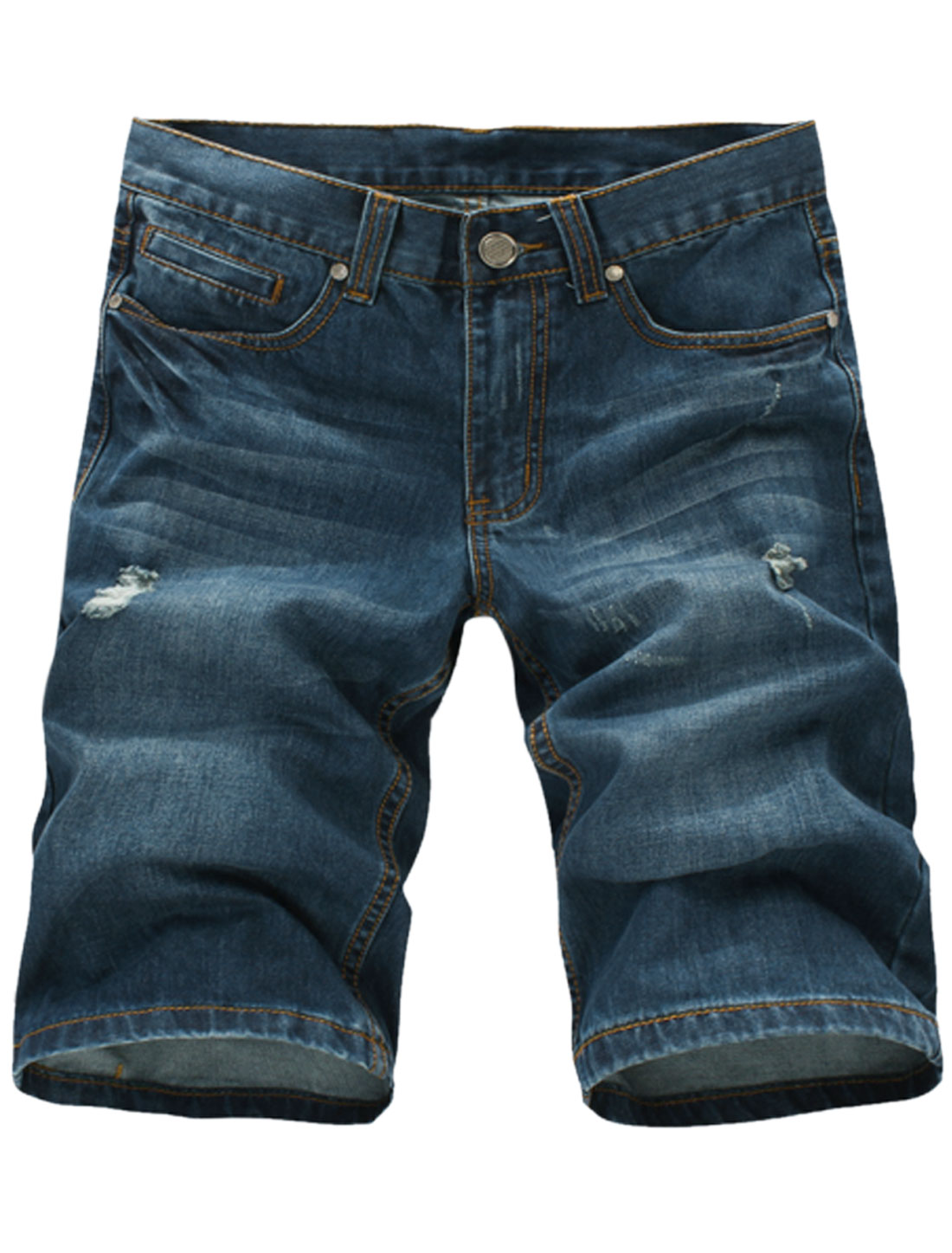 Man's Front Pockets Mid Rise Zip Fly Distressed Detail Denim Shorts Dark Blue W34