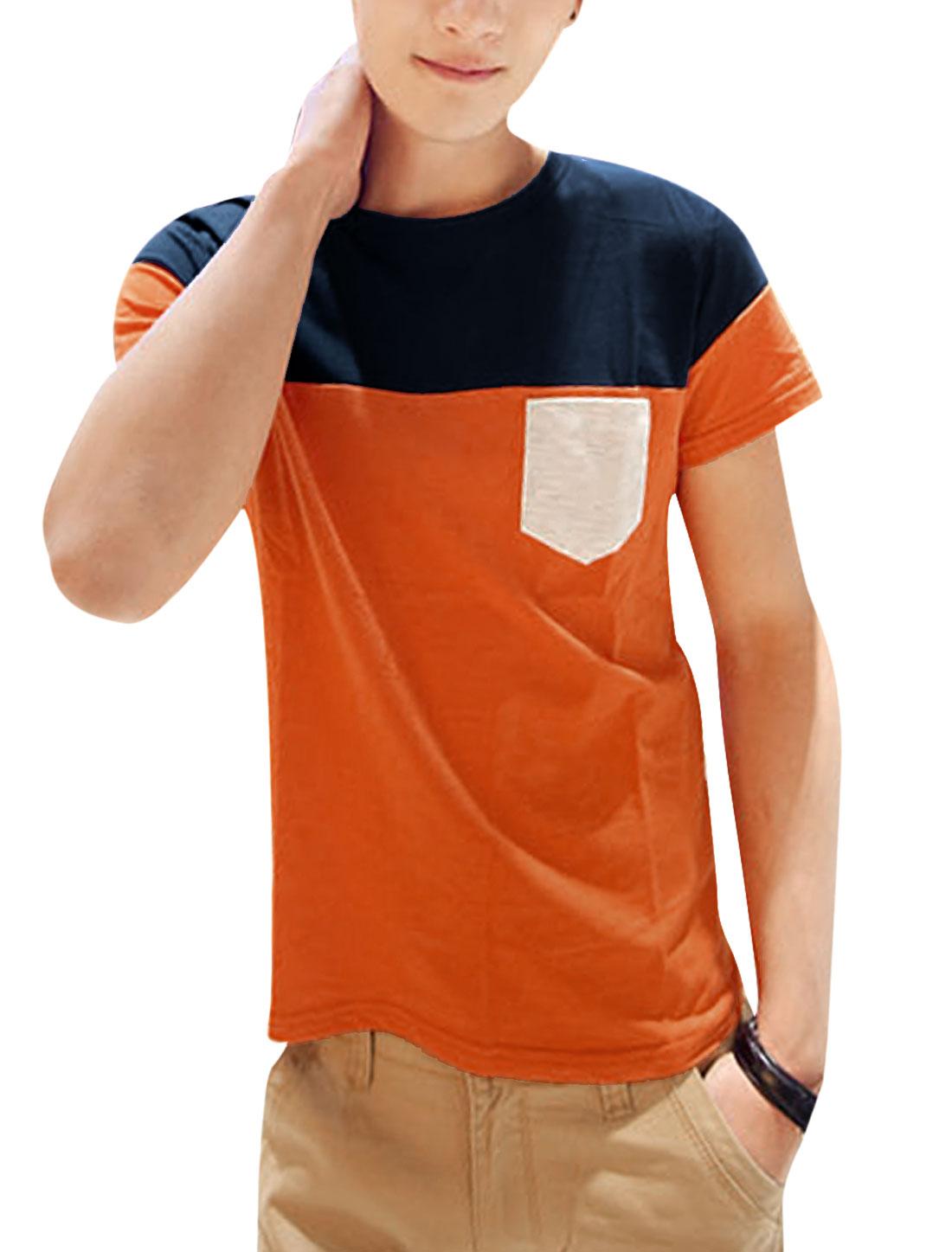 Men Short Sleeve Colorblock Panel Design T-Shirt Orange Navy Blue S