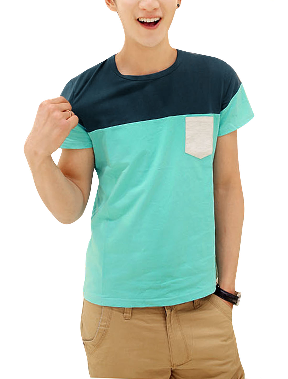 Men Short Sleeve Colorblock Spliced Chest Pocket T-Shirt Aqua Dusty Green S