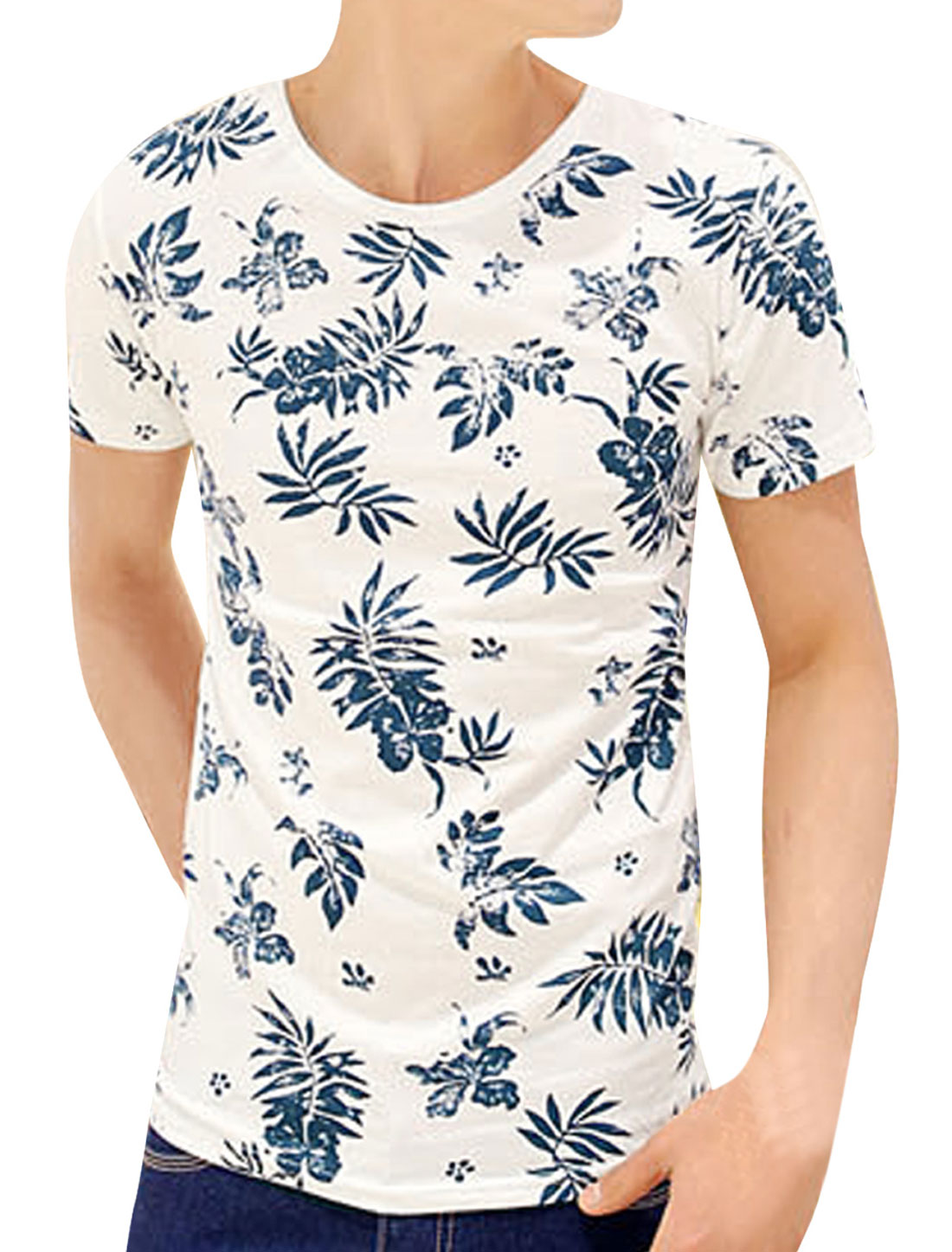 Men Summer Round Neck Short Sleeve Leaf Prints T-Shirt White S