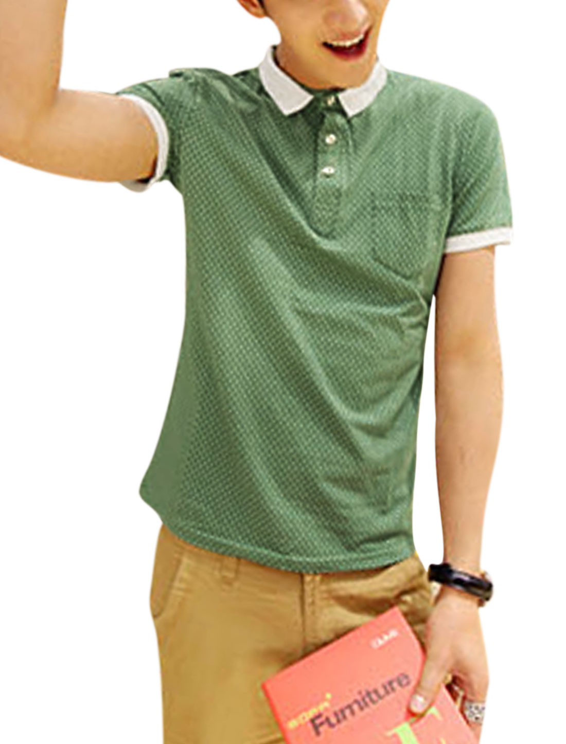 Cozy Fit Single Breast Pocket 3/4 Placket Polo Shirt for Men Green S