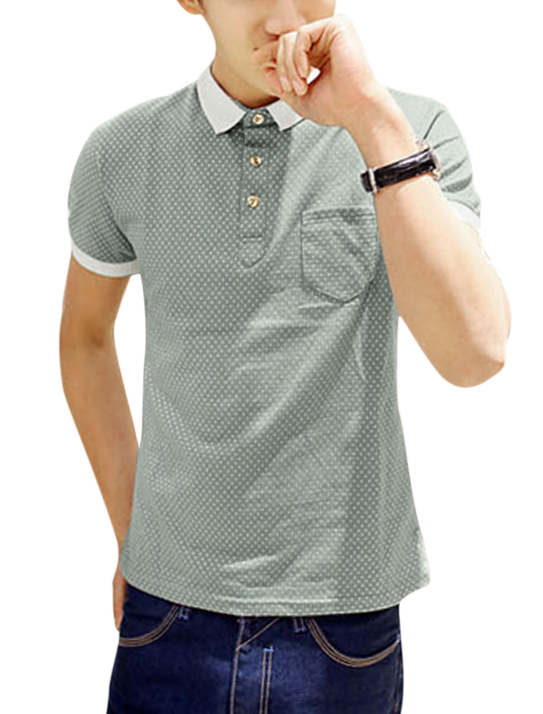 Men Short Sleeve Single Breast Pocket Summer Polo Shirt Steel Gray S
