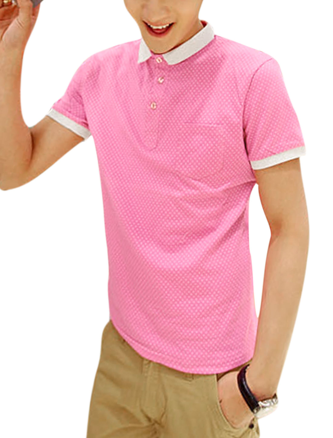 Men Short Sleeve 3/4 Placket Dots Design Slim Polo Shirt Pink S