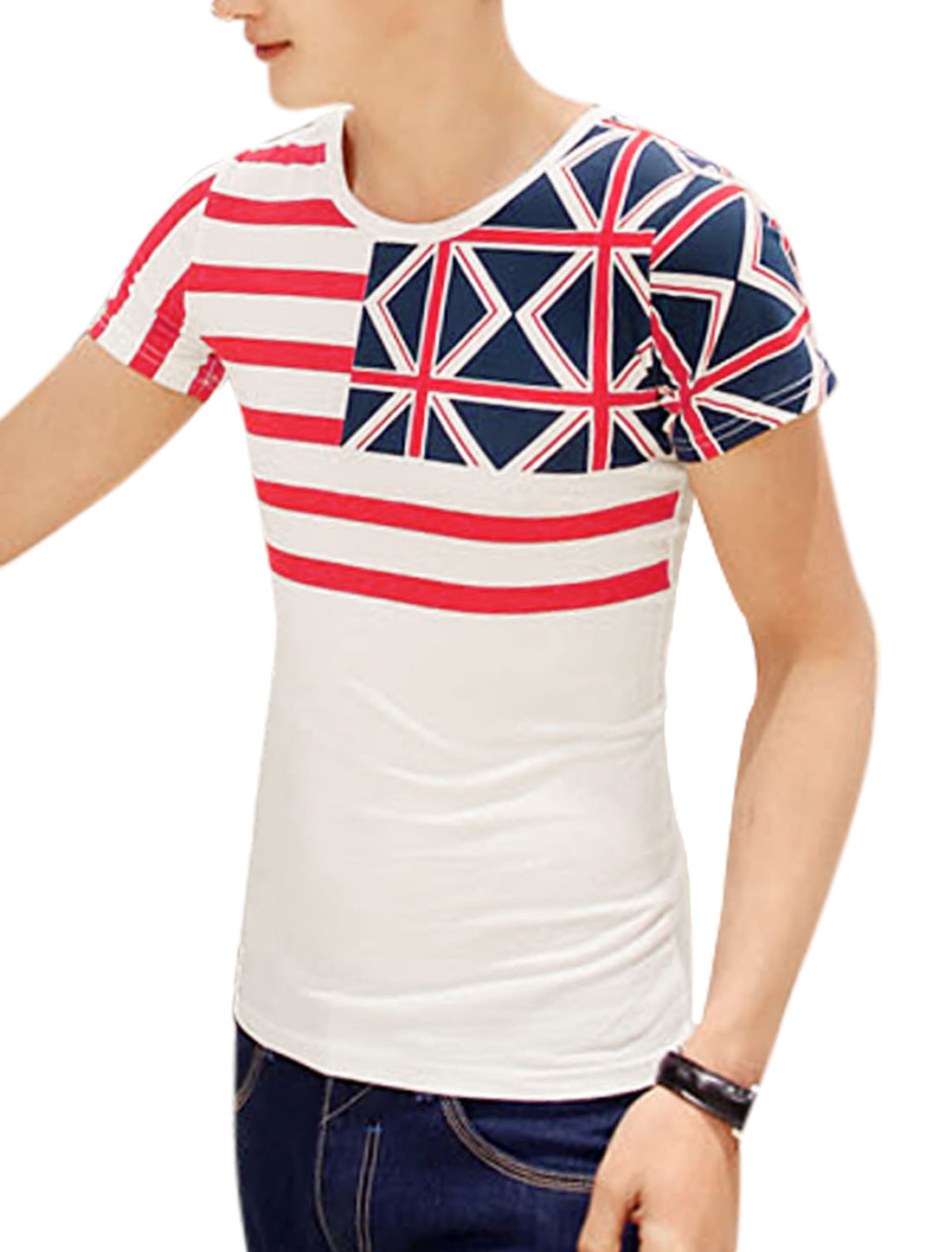Short Sleeve Stripes British Flag Prints T-Shirt for Men White M
