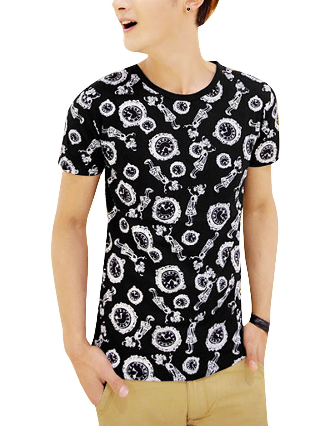 Men Round Neck Short Sleeve Watch Prints Regular Fit T-Shirt Black S