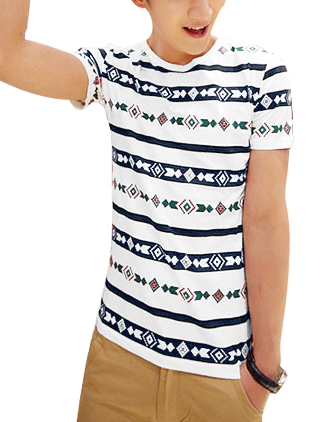 Men Round Neck Bar Striped T-Shirt White Navy Blue S