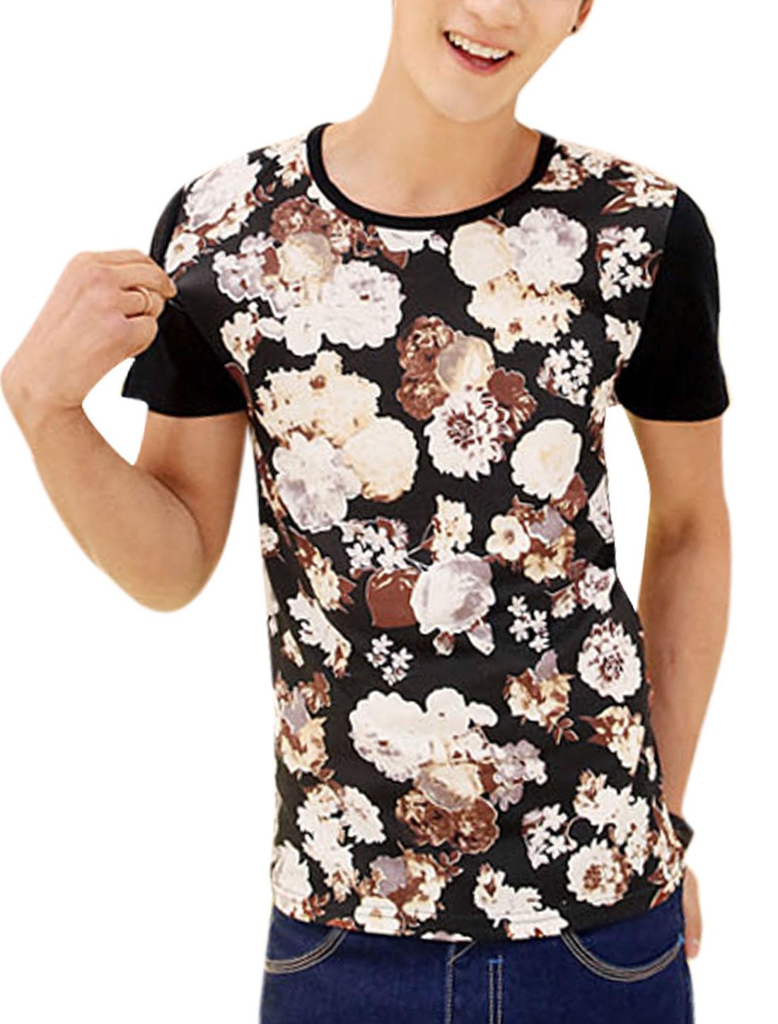 Men Summer Wear Round Neck Short Sleeve Floral Print T-Shirt Black M