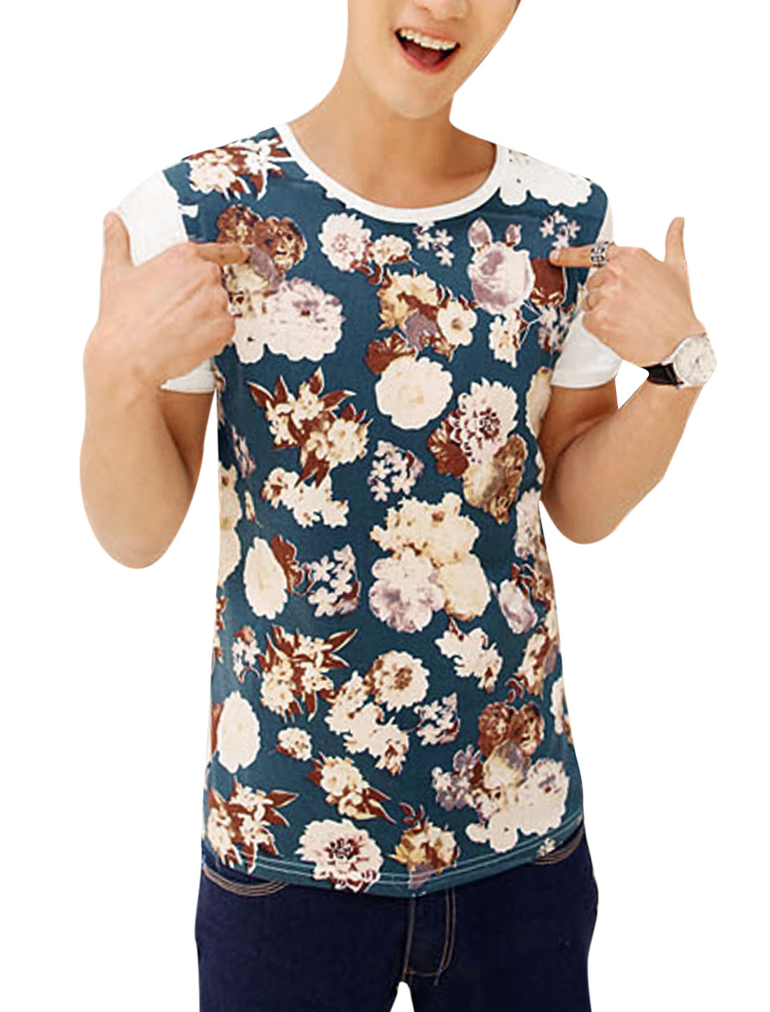 Men Regular Fit Round Neck Short Sleeve Floral Print T-Shirt White M