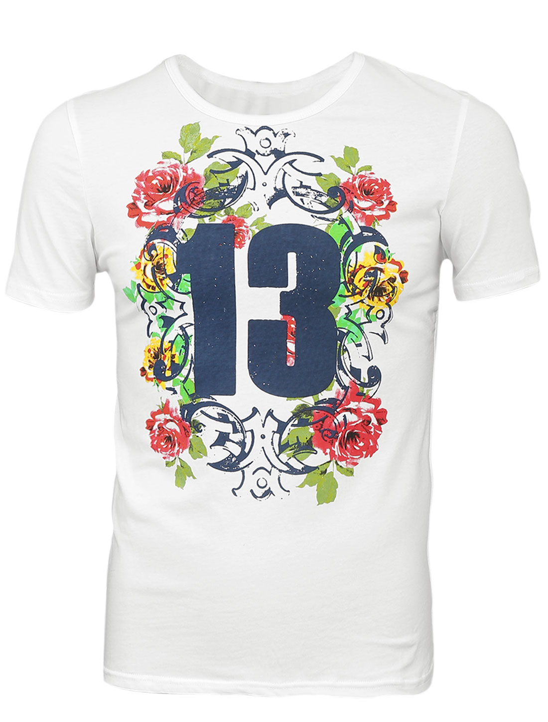 Men Slipover Rose Number Pattern Summer Fit Tee Top White S