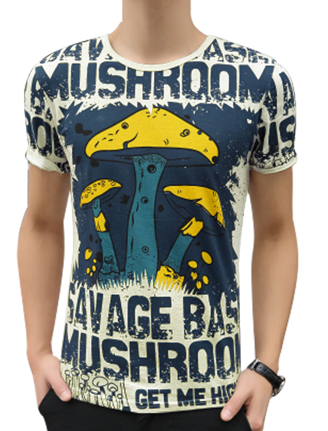 Men Fashion Round Neck Letters Mushroom Pattern Tee Top Light Gray S