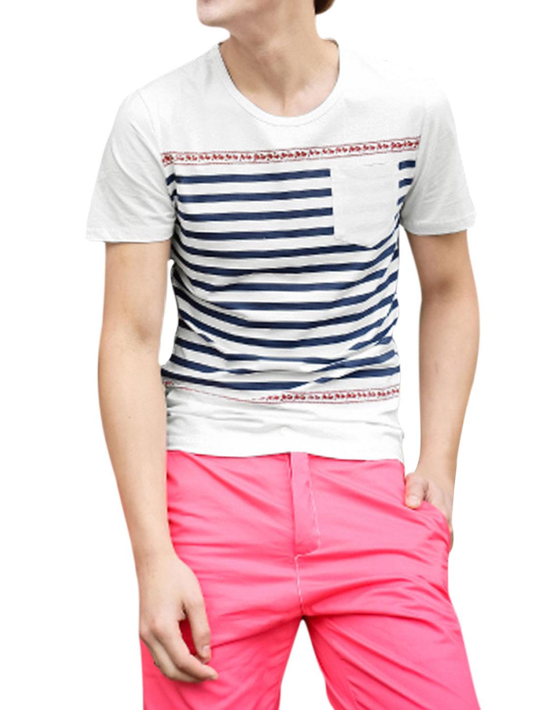 Men Round Neck Stripes Prints Summer Fit T-Shirt White S