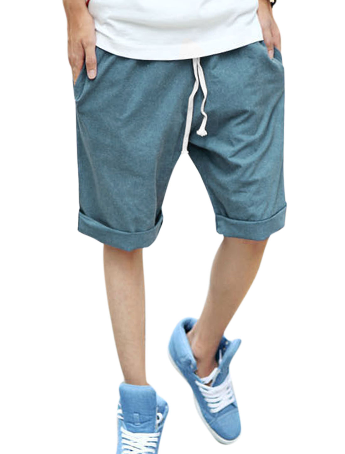 Men Drawstring Waist Slant Front Pockets Casual Shorts Steel Blue W30