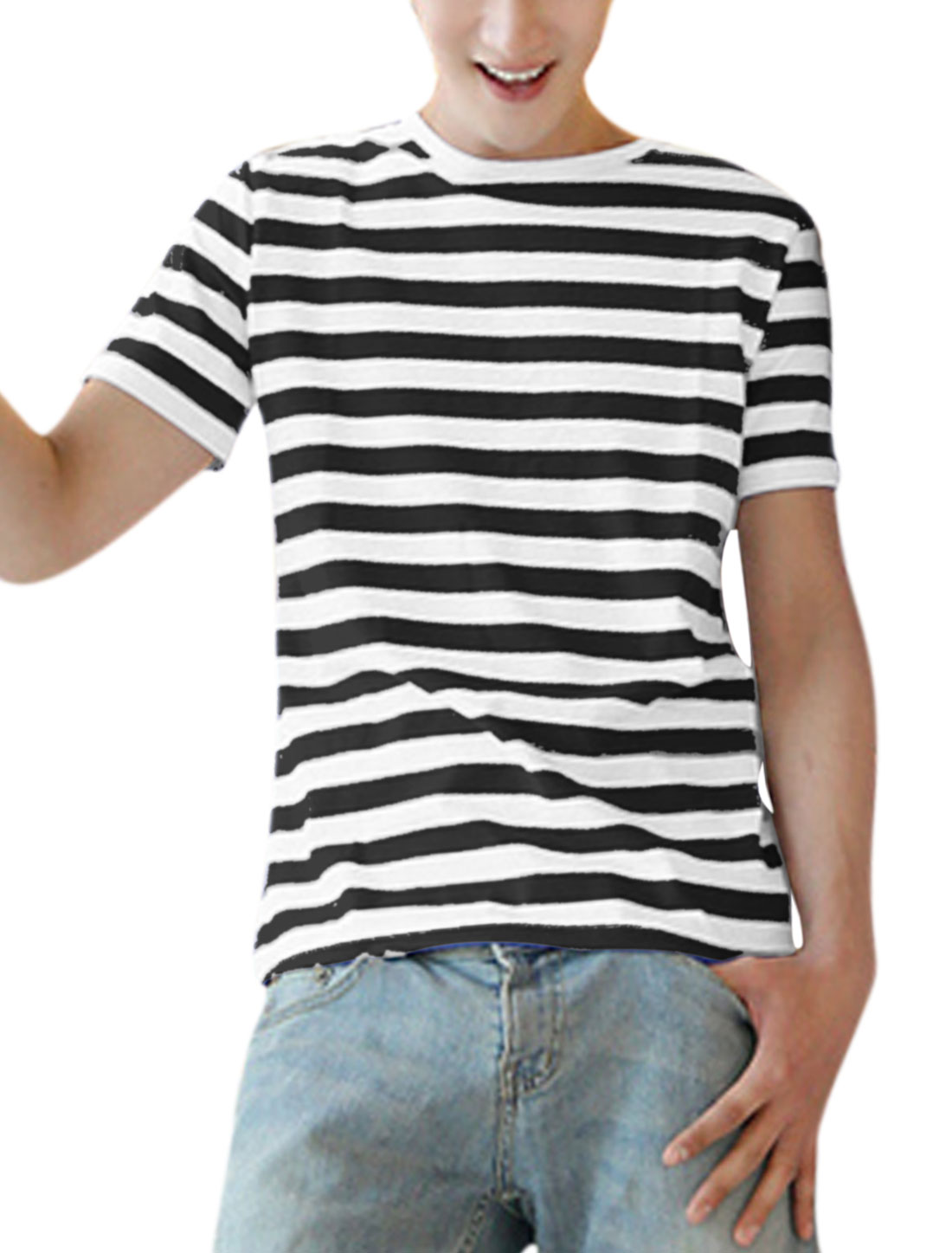 Men Stripes Pattern Short Sleeve Summer Fit Casual Tee Shirt Black White S