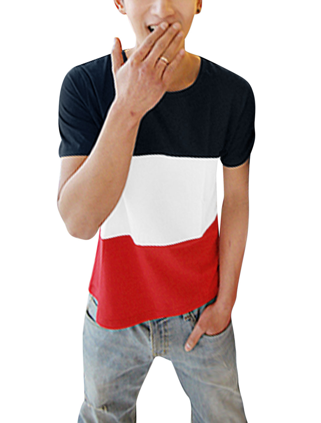 Men Short Sleeve Colorblock Summer Fit Tee Top Multicolor S