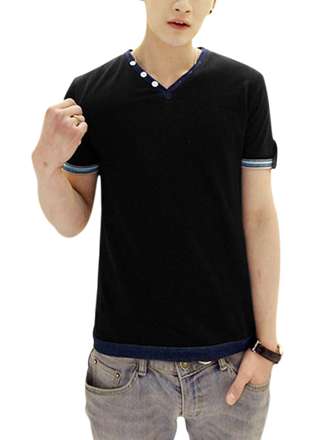 Men Stylish Buttons Decor Button-tab Cuffs Casual Tee Shirt Black S