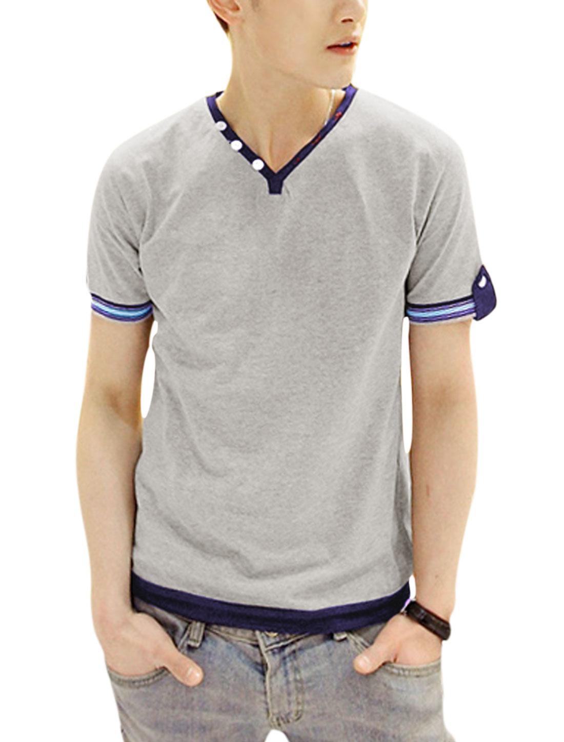 Men Stylish Denim Detail Button-tab Cuffs Casual Tee Shirt Light Gray S
