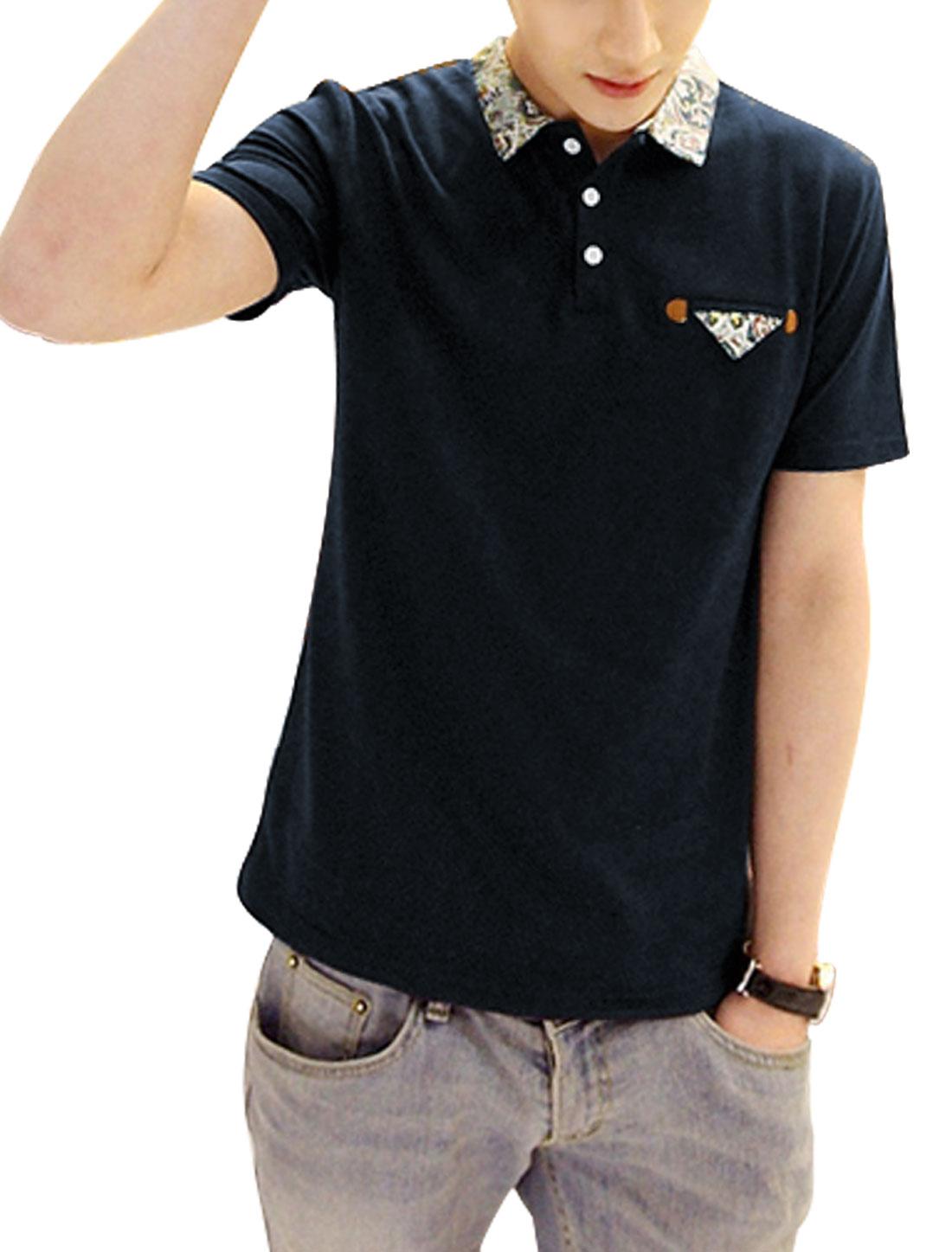 Men Point Collar Chest Pocket Decor Floral Prints Detail Shirt Navy Blue M