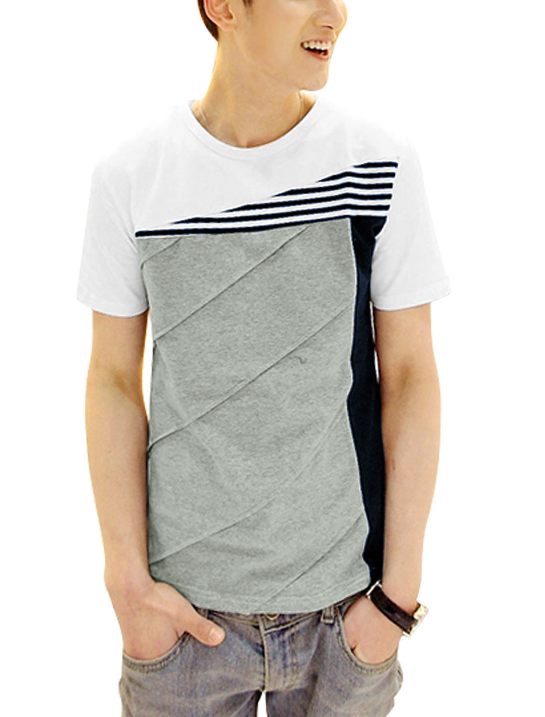 Men Stripes Prints Colorblock Panel Summer Fit Tee Light Gray M