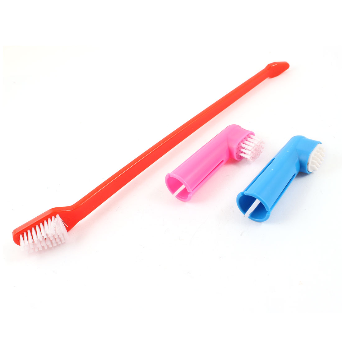 Pet Dog Yorkie Long Handle Dual Headed Tooth Bristle Brush Finger Brushes Red Pink Blue 3 in 1 Set